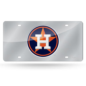 Houston Astros Silver Chrome Laser Tag License Plate