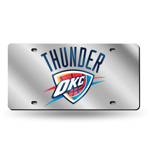 Oklahoma City Thunder Silver Chrome Laser Tag License Plate