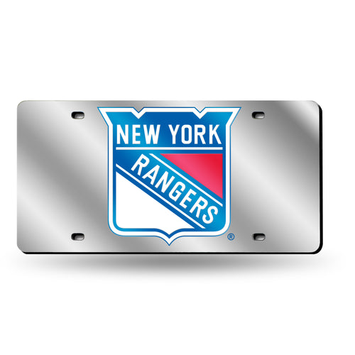 New York Rangers Silver Chrome Laser Tag License Plate