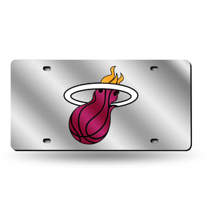 Miami Heat Chrome Laser Tag License Plate