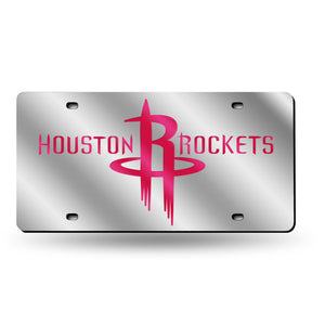 Houston Rockets Silver Chrome Laser Tag License Plate