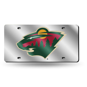 Minnesota Wild Silver Chrome Laser Tag License Plate
