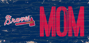 "Atlanta Braves Mom Wood Sign - 6""x12"""
