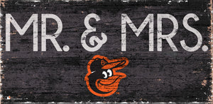 "Baltimore Orioles Mr. & Mrs. Wood Sign - 6""x12"""