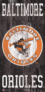 "Baltimore Orioles Heritage Logo Wood Sign - 6""x12"""
