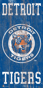 "Detroit Tigers Heritage Logo Wood Sign - 6""x12"""
