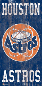 "Houston Astros Heritage Logo Wood Sign - 6""x12"""
