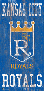 "Kansas City Royals Heritage Logo Wood Sign - 6""x12"""
