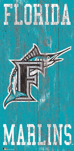 "Miami Marlins Heritage Logo Wood Sign - 6""x12"""