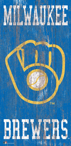 "Milwaukee Brewers Heritage Logo Wood Sign - 6""x12"""