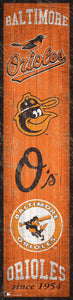 "Baltimore Orioles Heritage Banner Wood Sign - 6""x24"""