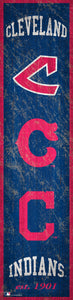 "Cleveland Indians Heritage Banner Wood Sign - 6""x24"""