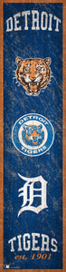 "Detroit Tigers Heritage Banner Wood Sign - 6""x24"""