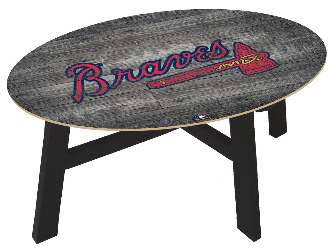 Atlanta Braves Distressed Wood Coffee Table