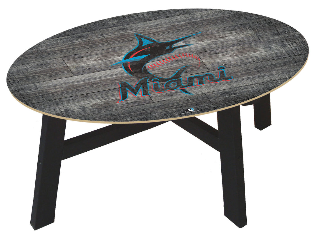 Miami Marlins Distressed Wood Coffee Table