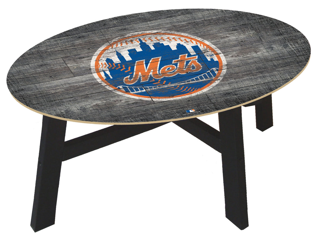 New York Mets Distressed Wood Coffee Table