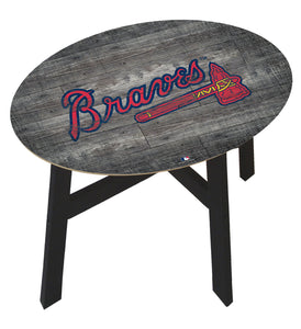 Atlanta Braves Distressed Logo Wood Side Table