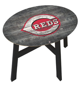 Cincinnati Reds Distressed Logo Wood Side Table