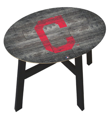 Cleveland Indians Distressed Logo Wood Side Table