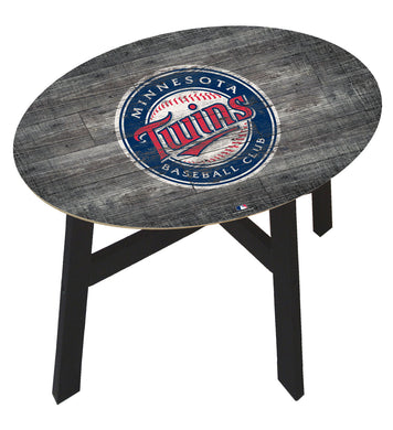 Minnesota Twins Distressed Logo Wood Side Table