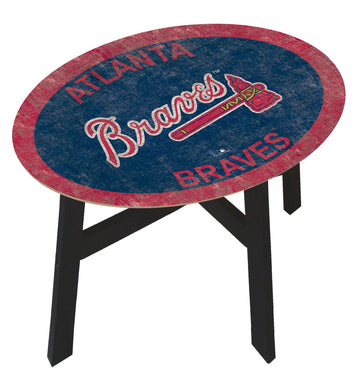 Atlanta Braves Team Color Wood Side Table