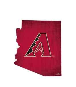 Arizona Diamondbacks Team Color Logo State Cutout Sign