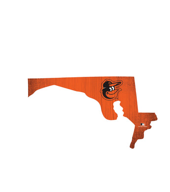 Baltimore Orioles Team Color Logo State Cutout Sign