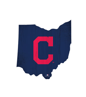Cleveland Indians Team Color Logo State Cutout Sign