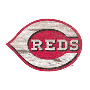 Cincinnati Reds Distressed Logo Cutout Sign