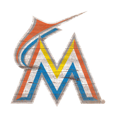 Miami Marlins Distressed Logo Cutout Sign