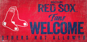 "Boston Red Sox Fans Welcome Wood Sign - 12"" x 6"""