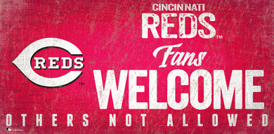 Cincinnati Reds Fans Welcome Wood Sign