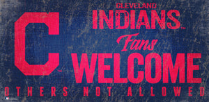 Cleveland Indians Fans Welcome Wood Sign