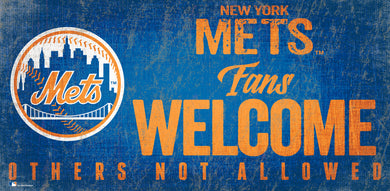New York Mets Fans Welcome Wood Sign