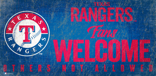 Texas Rangers Fans Welcome Wood Sign
