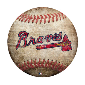 Atlanta Braves Baseball Shaped Sign