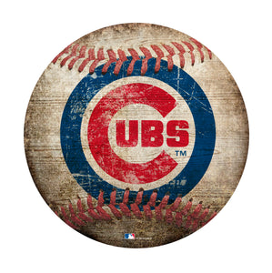 "Chicago Cubs  12"" Baseball Shaped Sign"