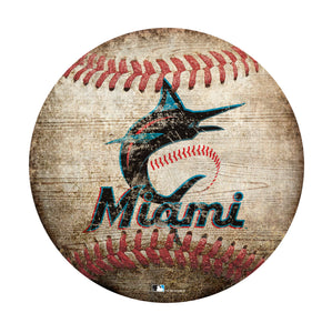Miami Marlins Baseball Shaped Sign