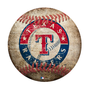 Texas Rangers Baseball Shaped Sign