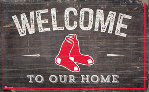 "Boston Red Sox Welcome To Our Home Sign - 11""x19"""