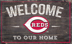 "Cincinnati Reds Welcome To Our Home Sign - 11""x19"""