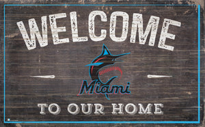 "Miami Marlins Welcome To Our Home Sign - 11""x19"""