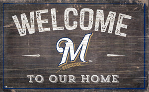 "Milwaukee Brewers Welcome To Our Home Sign - 11""x19"""