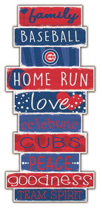 Chicago Cubs Celebrations Stack Wood Sign -24""
