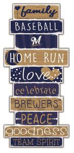 Milwaukee Brewers Celebrations Stack Wood Sign -24""