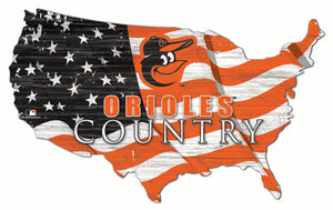 Baltimore Orioles USA Shape Wood Sign