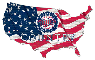 Minnesota Twins USA Shape Wood Sign