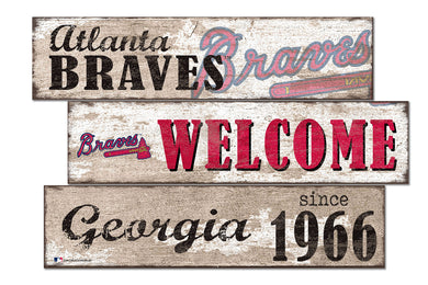 Atlanta Braves Welcome 3 Plank Wood Sign