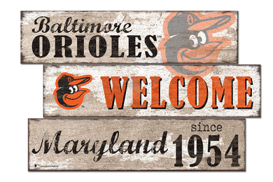 Baltimore Orioles Welcome 3 Plank Wood Sign