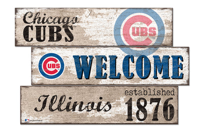 Chicago Cubs Welcome 3 Plank Wood Sign